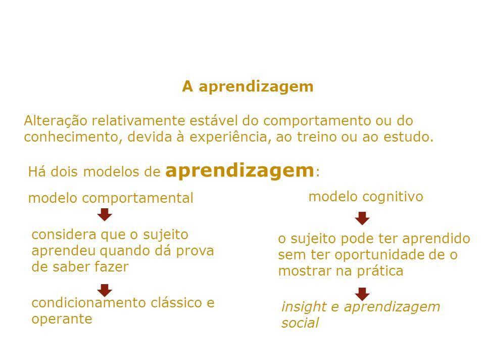 A aprendizagem Alteração relativamente estável do comportamento ou do conhecimento, devida à experiência, ao treino ou ao estudo.