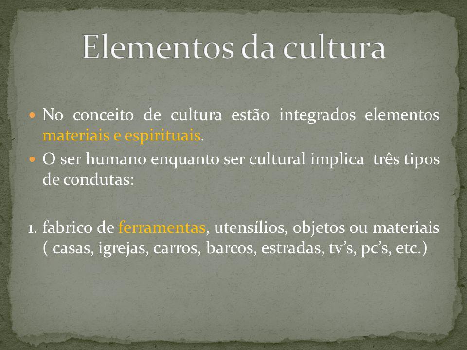 Elementos da culturaNo conceito de cultura estão integrados elementos materiais e espirituais.