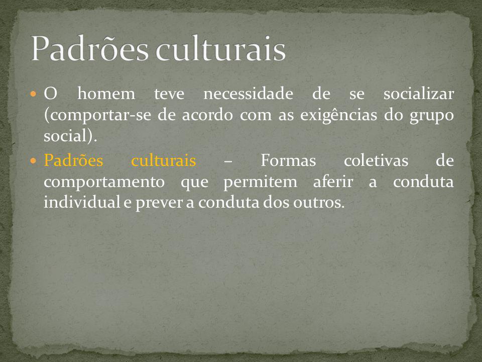 Padrões culturais O homem teve necessidade de se socializar (comportar-se de acordo com as exigências do grupo social).