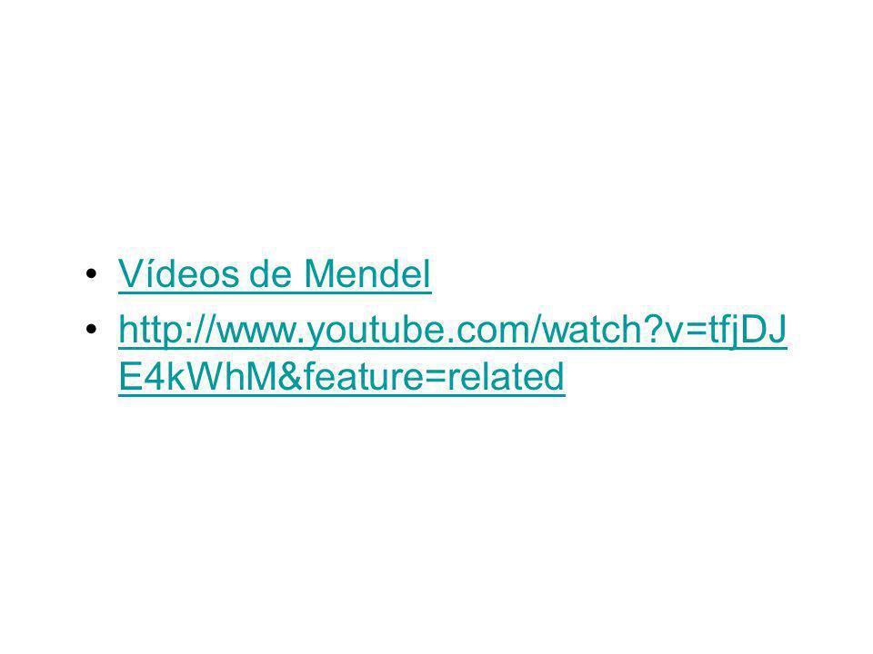 Vídeos de Mendel http://www.youtube.com/watch v=tfjDJE4kWhM&feature=related