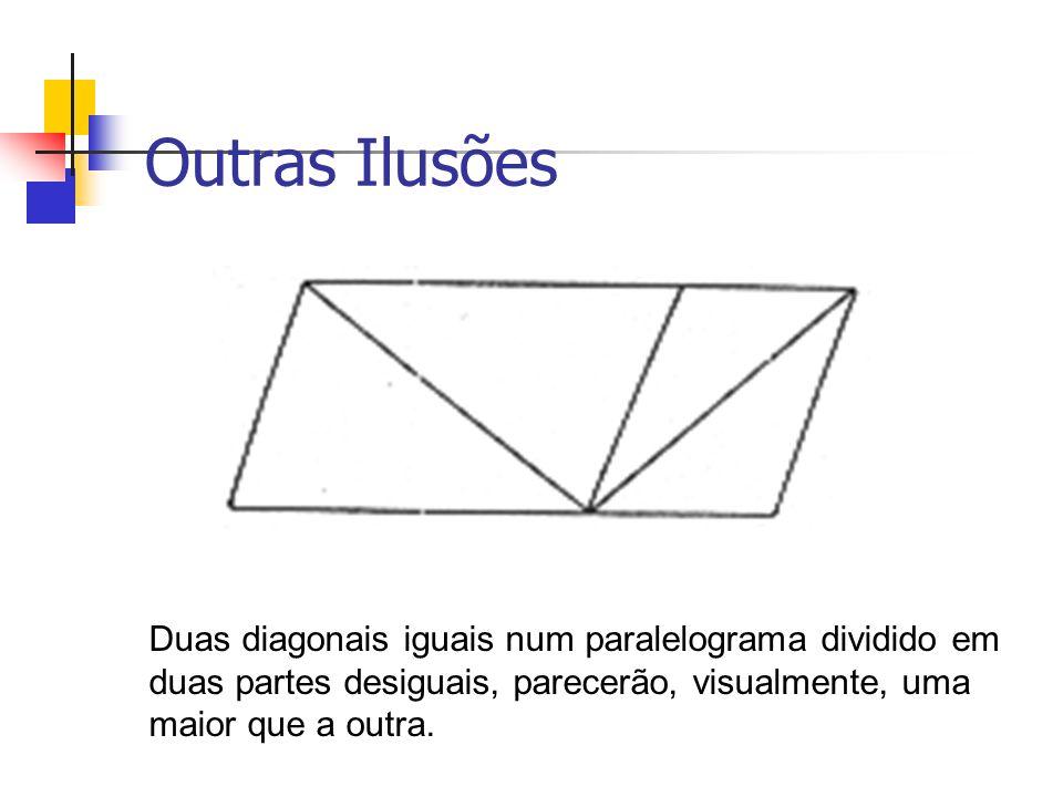 Outras Ilusões Duas diagonais iguais num paralelograma dividido em duas partes desiguais, parecerão, visualmente, uma maior que a outra.