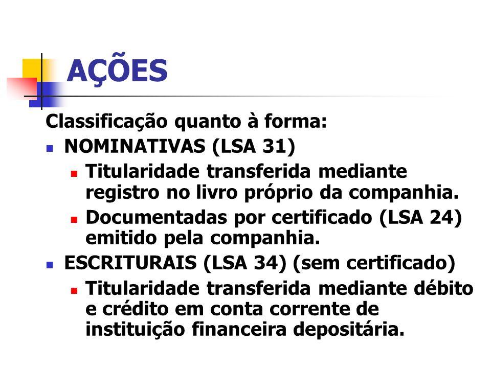 AÇÕES Classificação quanto à forma: NOMINATIVAS (LSA 31)