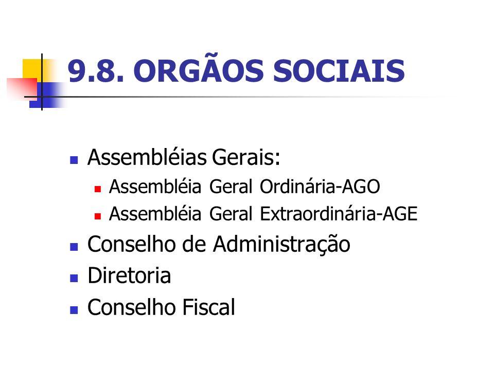 9.8. ORGÃOS SOCIAIS Assembléias Gerais: Conselho de Administração