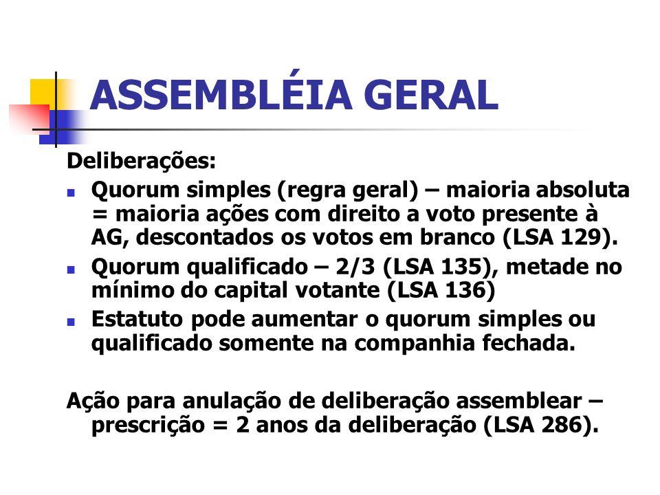 ASSEMBLÉIA GERAL Deliberações: