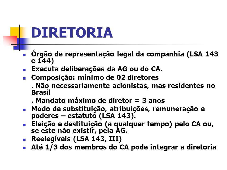 DIRETORIA Órgão de representação legal da companhia (LSA 143 e 144)