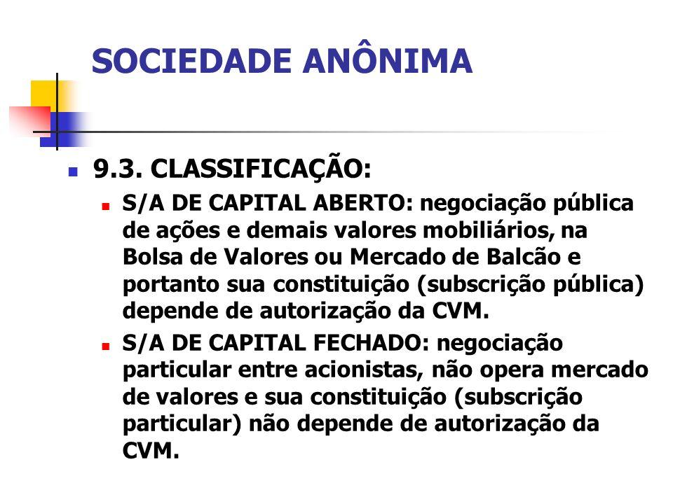 SOCIEDADE ANÔNIMA 9.3. CLASSIFICAÇÃO:
