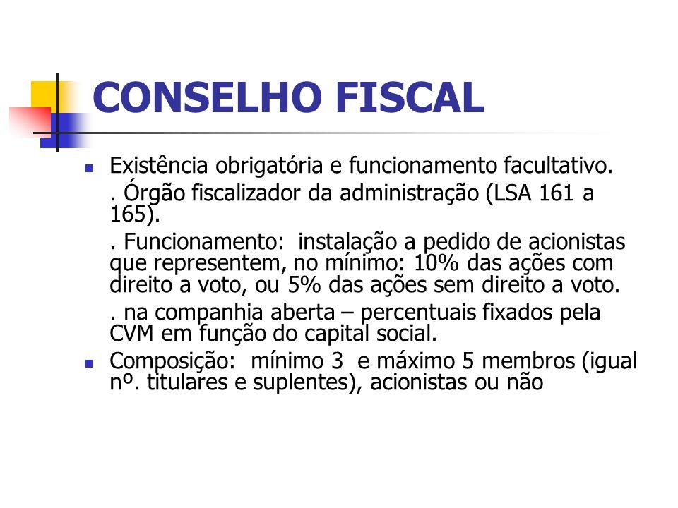 CONSELHO FISCAL Existência obrigatória e funcionamento facultativo.