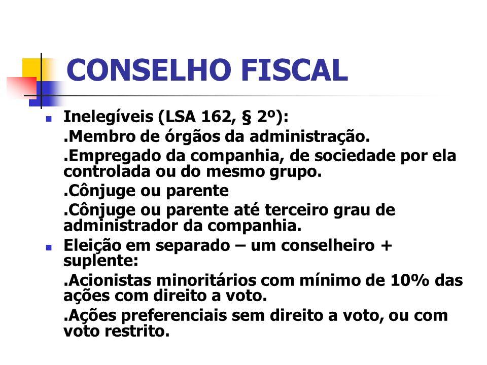 CONSELHO FISCAL Inelegíveis (LSA 162, § 2º):