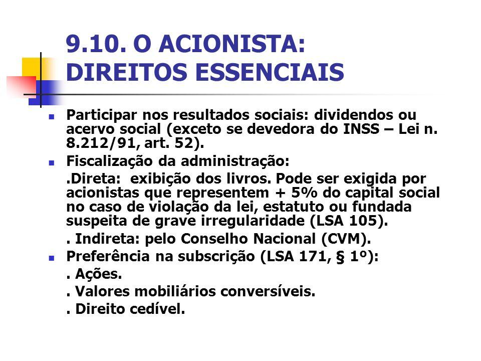 9.10. O ACIONISTA: DIREITOS ESSENCIAIS
