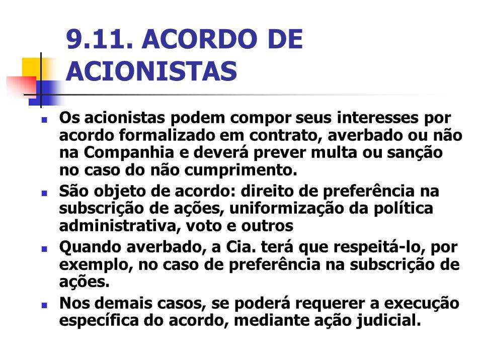 9.11. ACORDO DE ACIONISTAS