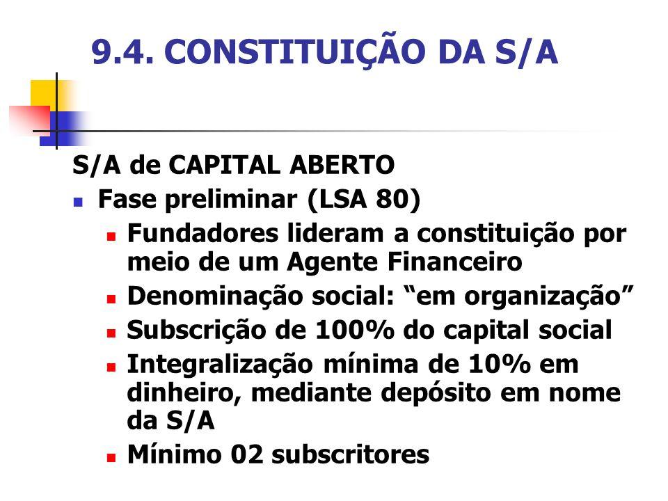 9.4. CONSTITUIÇÃO DA S/A S/A de CAPITAL ABERTO