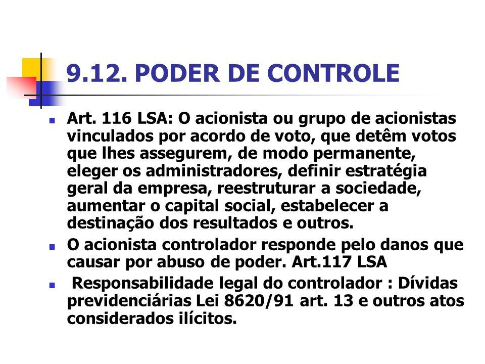 9.12. PODER DE CONTROLE