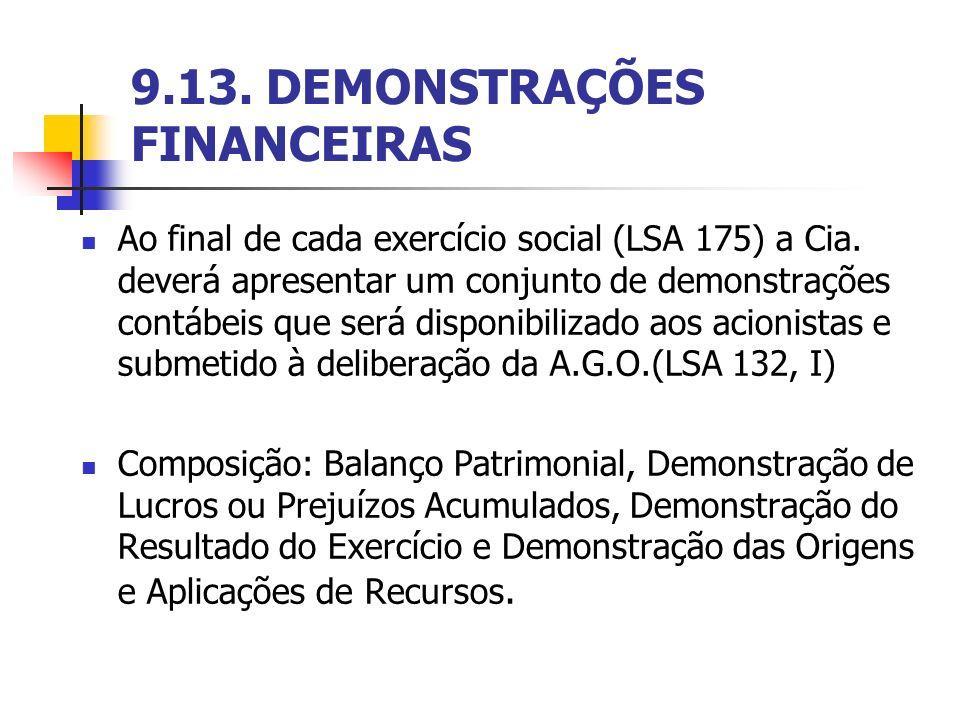 9.13. DEMONSTRAÇÕES FINANCEIRAS