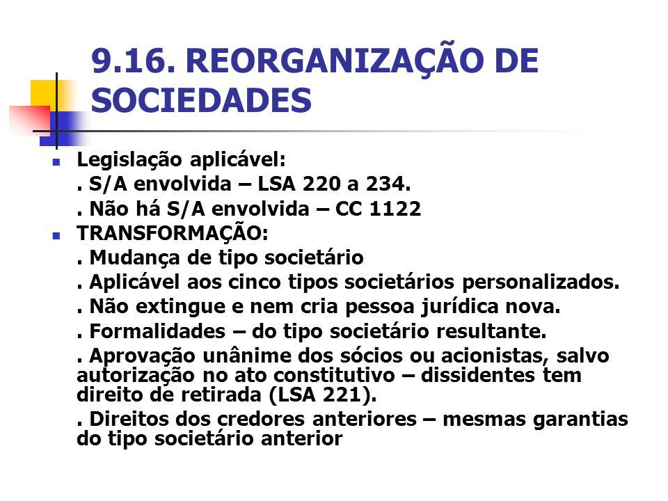9.16. REORGANIZAÇÃO DE SOCIEDADES