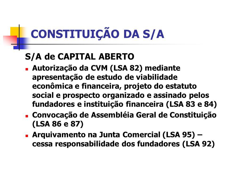 CONSTITUIÇÃO DA S/A S/A de CAPITAL ABERTO
