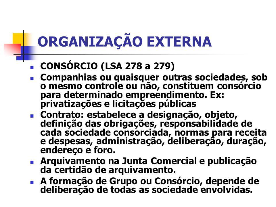 ORGANIZAÇÃO EXTERNA CONSÓRCIO (LSA 278 a 279)