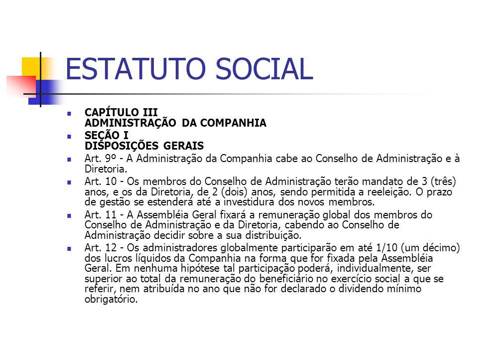 ESTATUTO SOCIAL CAPÍTULO III ADMINISTRAÇÃO DA COMPANHIA