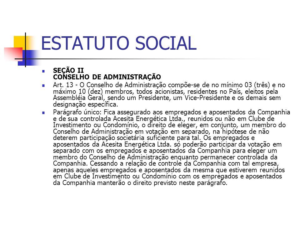 ESTATUTO SOCIAL SEÇÃO II CONSELHO DE ADMINISTRAÇÃO