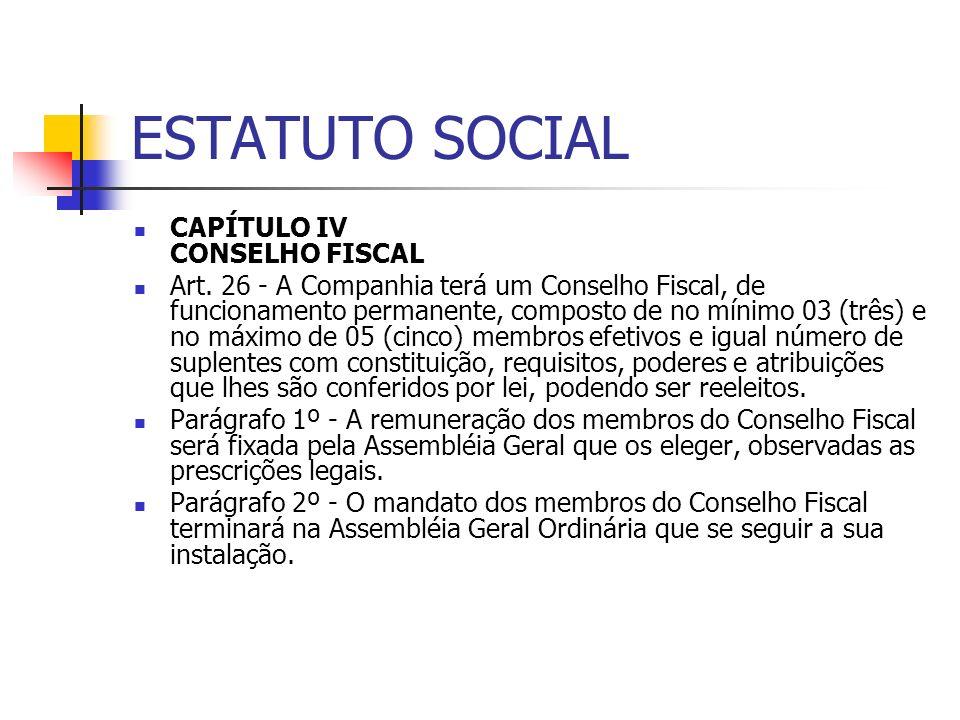 ESTATUTO SOCIAL CAPÍTULO IV CONSELHO FISCAL