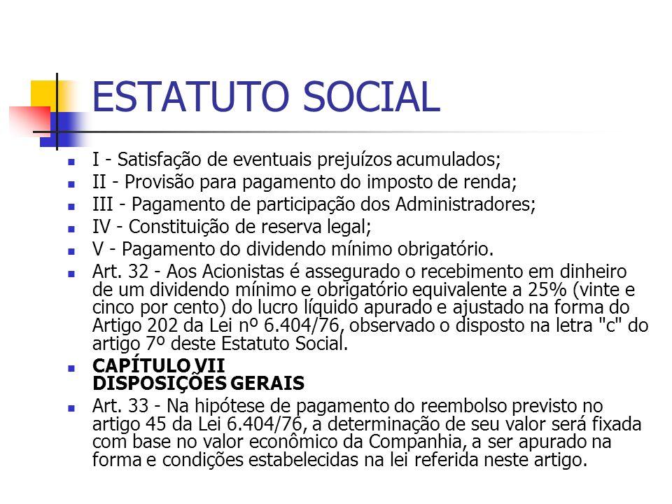 ESTATUTO SOCIAL I - Satisfação de eventuais prejuízos acumulados;