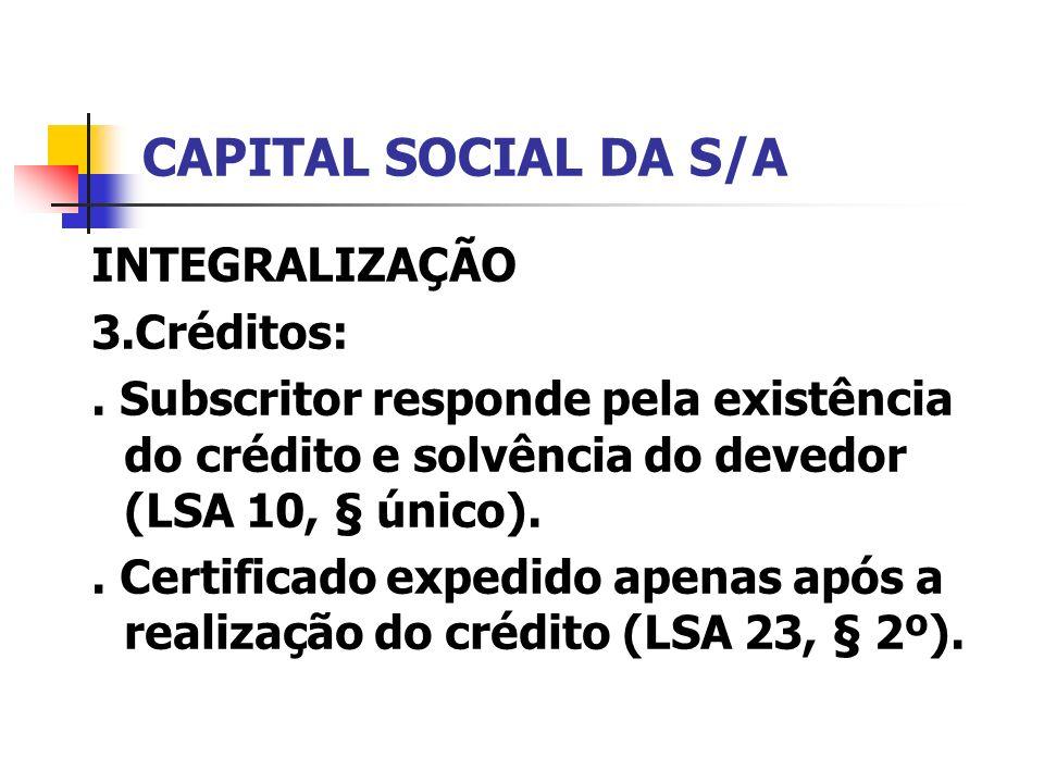 CAPITAL SOCIAL DA S/A INTEGRALIZAÇÃO 3.Créditos: