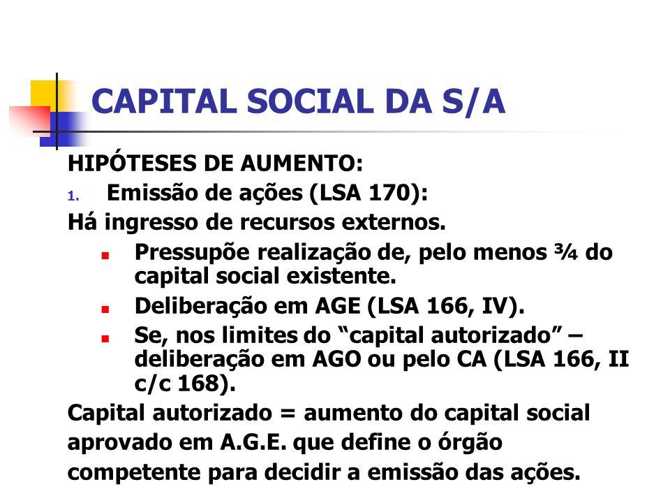 CAPITAL SOCIAL DA S/A HIPÓTESES DE AUMENTO:
