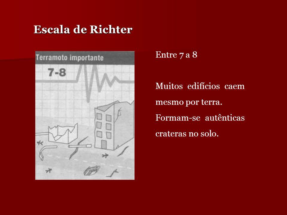 Escala de Richter Entre 7 a 8 Muitos edifícios caem mesmo por terra.