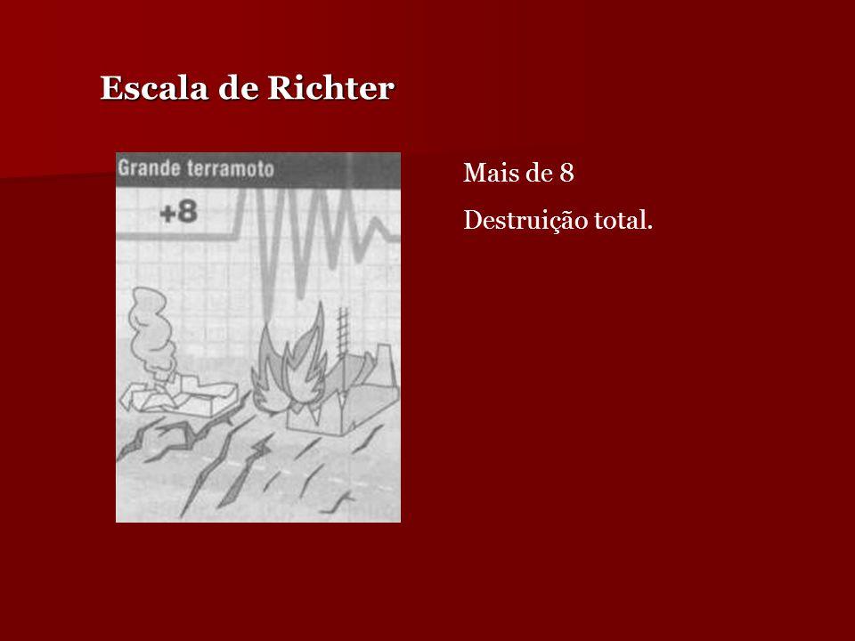 Escala de Richter Mais de 8 Destruição total.