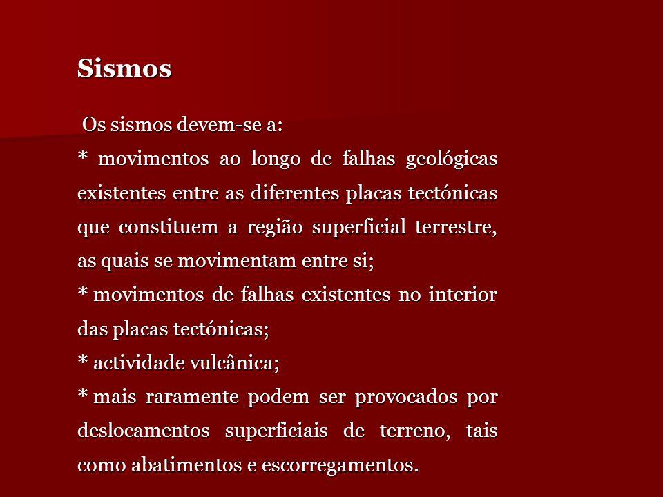Sismos Os sismos devem-se a:
