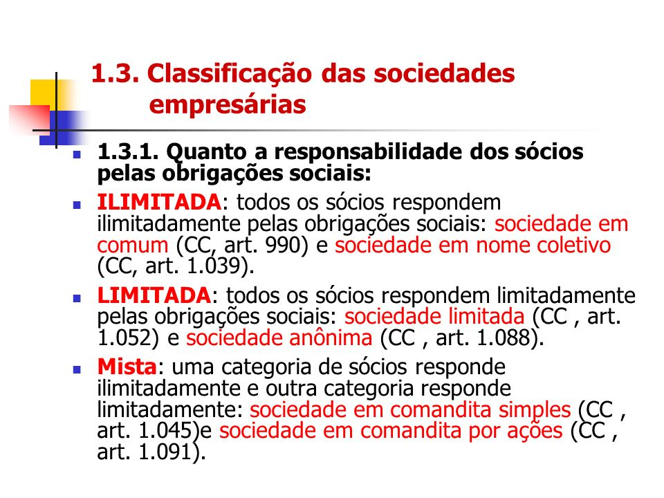 1.3. Classificação das sociedades empresárias