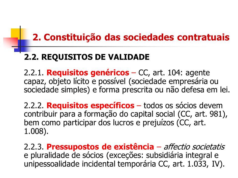 2. Constituição das sociedades contratuais