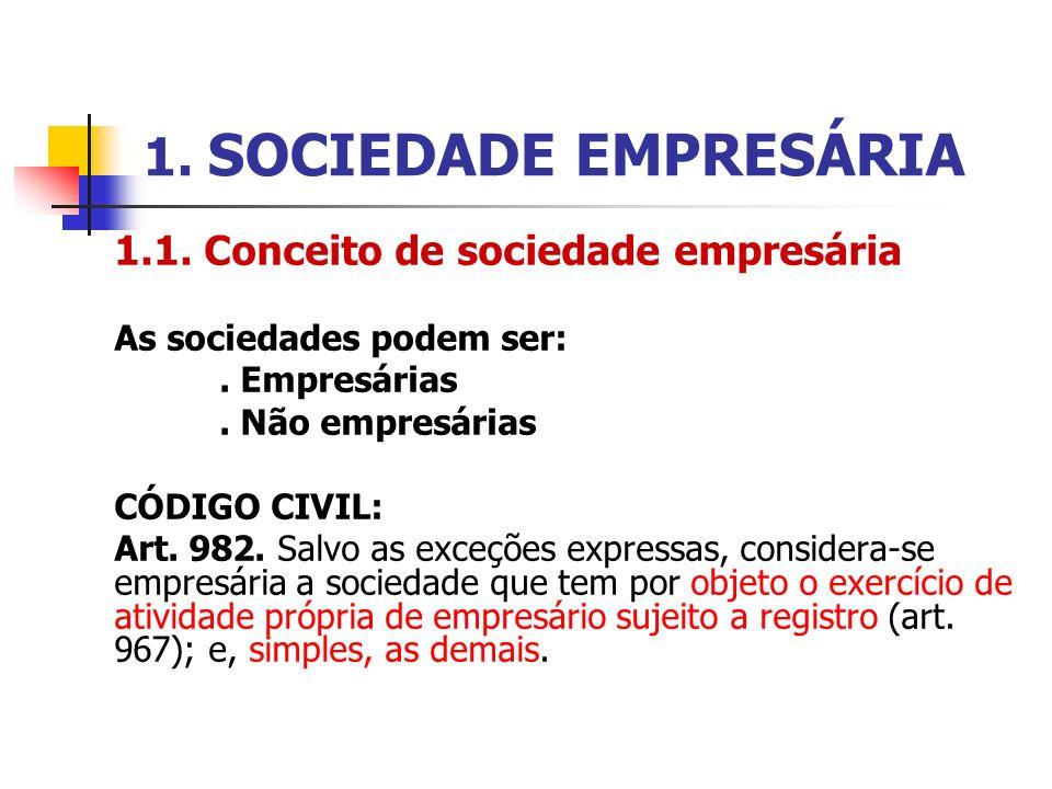 1. SOCIEDADE EMPRESÁRIA 1.1. Conceito de sociedade empresária