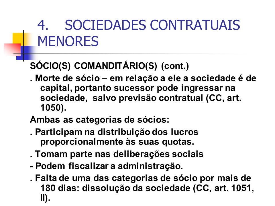 4. SOCIEDADES CONTRATUAIS MENORES