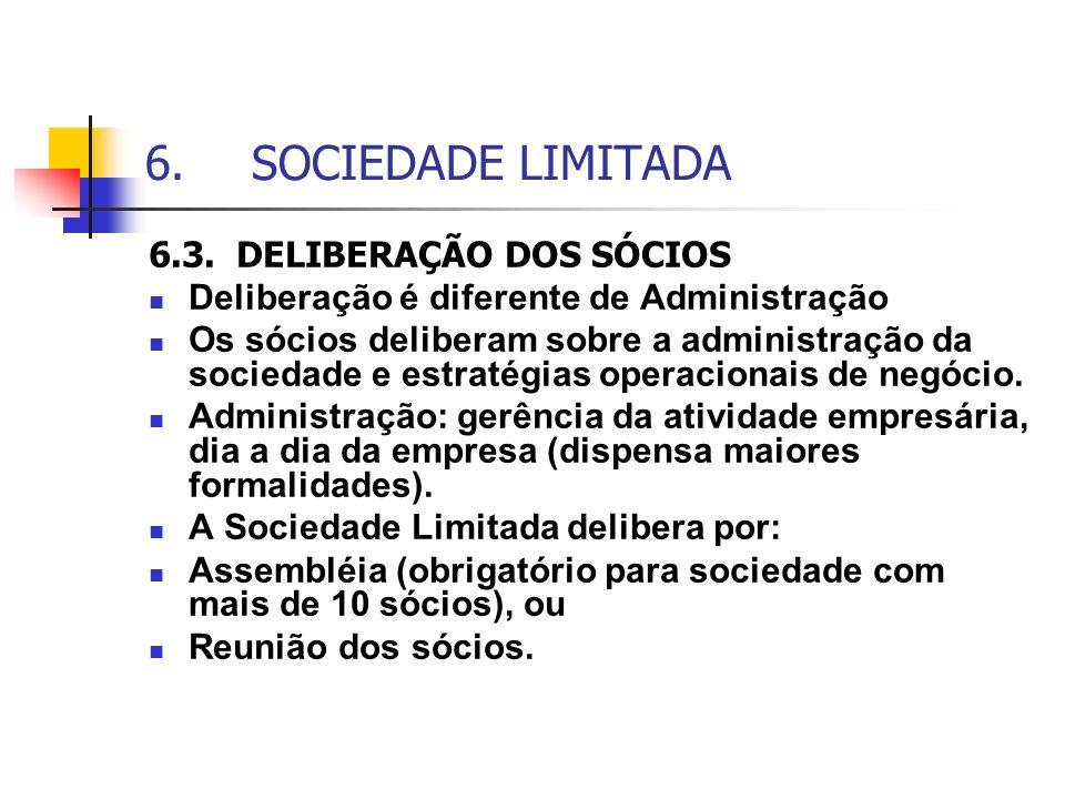 6. SOCIEDADE LIMITADA 6.3. DELIBERAÇÃO DOS SÓCIOS