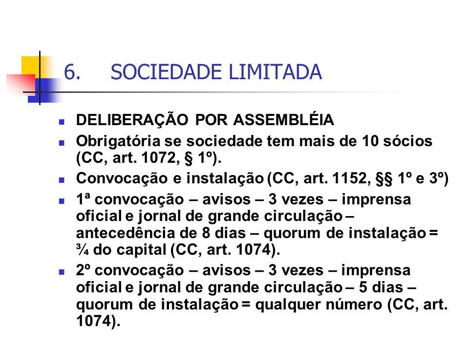6. SOCIEDADE LIMITADA DELIBERAÇÃO POR ASSEMBLÉIA