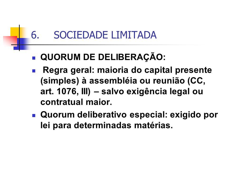 6. SOCIEDADE LIMITADA QUORUM DE DELIBERAÇÃO: