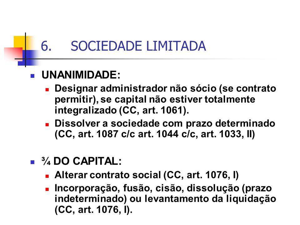 6. SOCIEDADE LIMITADA UNANIMIDADE: ¾ DO CAPITAL: