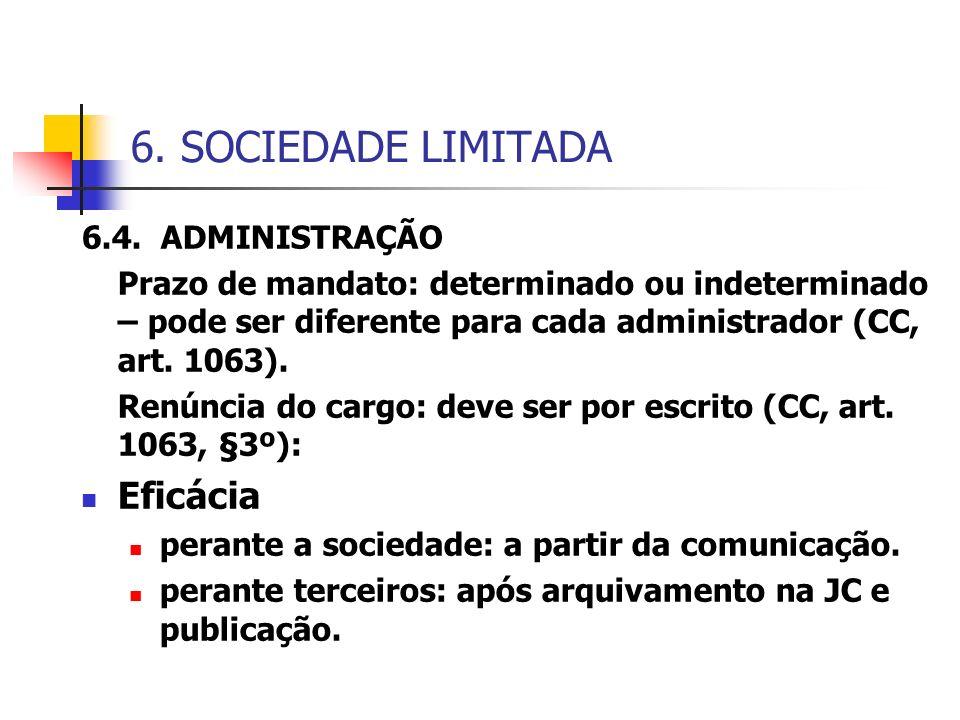 6. SOCIEDADE LIMITADA Eficácia 6.4. ADMINISTRAÇÃO