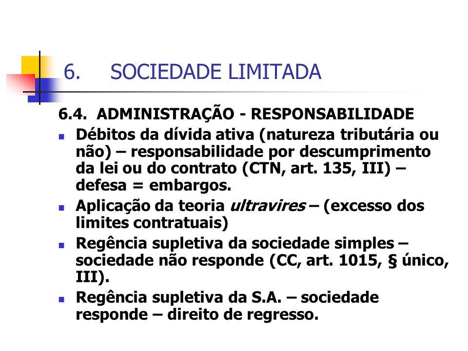 SOCIEDADE LIMITADA 6.4. ADMINISTRAÇÃO - RESPONSABILIDADE