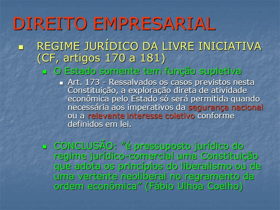 DIREITO DE EMPRESAS DIREITO EMPRESARIAL. REGIME JURÍDICO DA LIVRE INICIATIVA (CF, artigos 170 a 181)