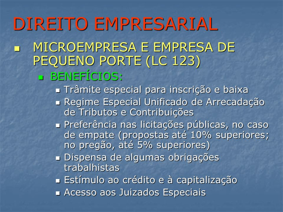 DIREITO EMPRESARIAL MICROEMPRESA E EMPRESA DE PEQUENO PORTE (LC 123)