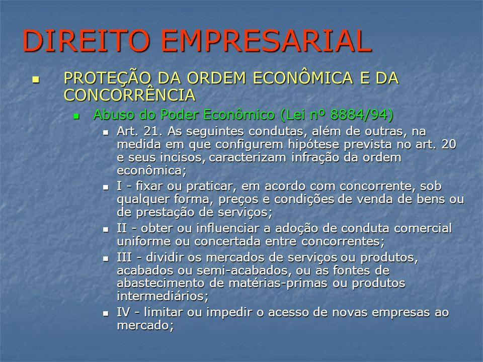 DIREITO EMPRESARIAL PROTEÇÃO DA ORDEM ECONÔMICA E DA CONCORRÊNCIA