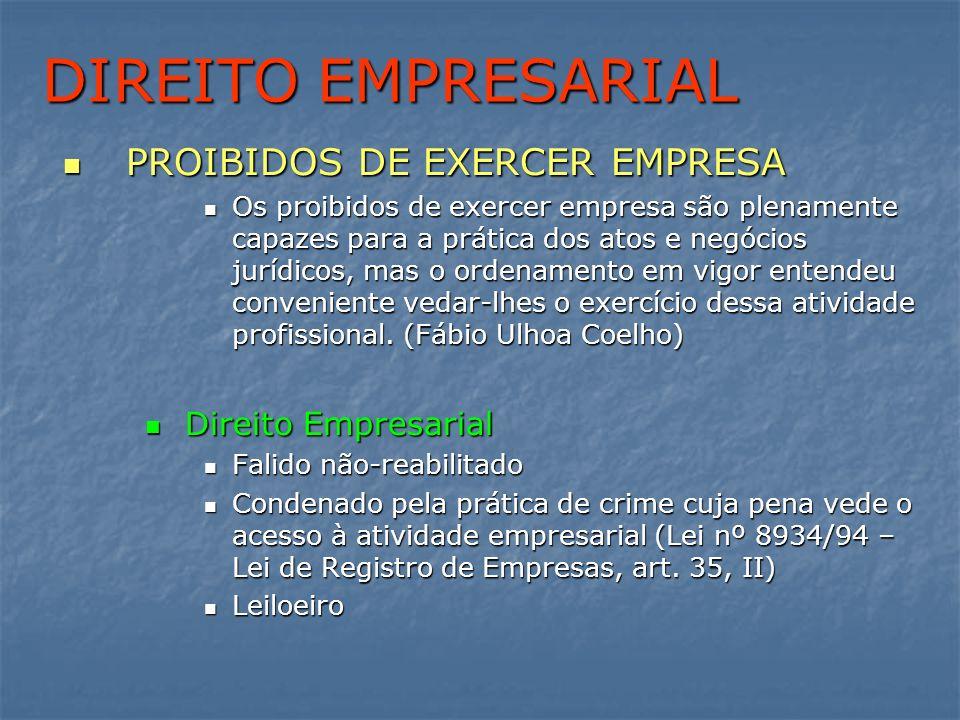 DIREITO EMPRESARIAL PROIBIDOS DE EXERCER EMPRESA Direito Empresarial