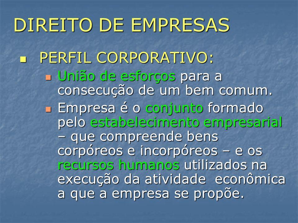 DIREITO DE EMPRESAS PERFIL CORPORATIVO: