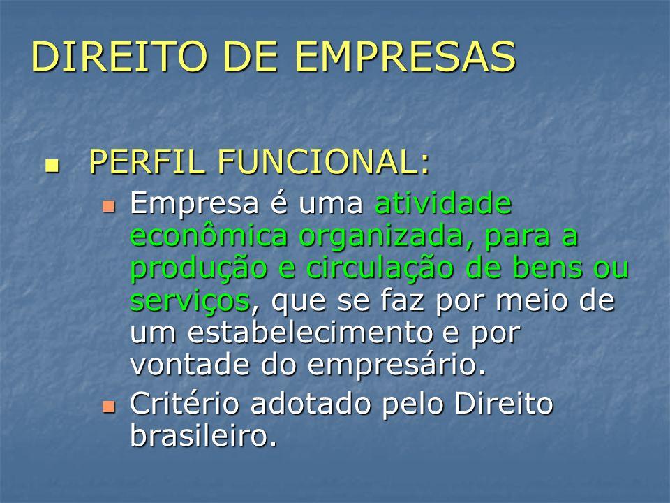 DIREITO DE EMPRESAS PERFIL FUNCIONAL:
