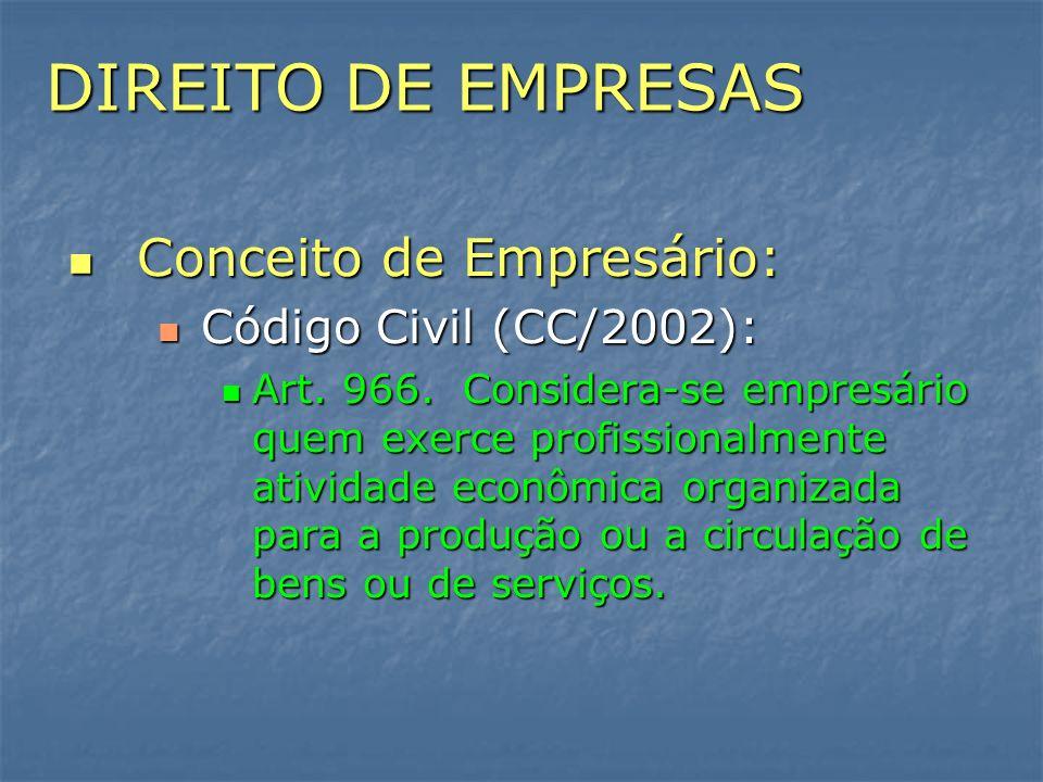 DIREITO DE EMPRESAS Conceito de Empresário: Código Civil (CC/2002):