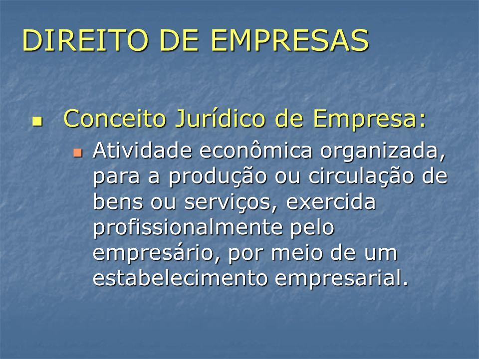 DIREITO DE EMPRESAS Conceito Jurídico de Empresa: