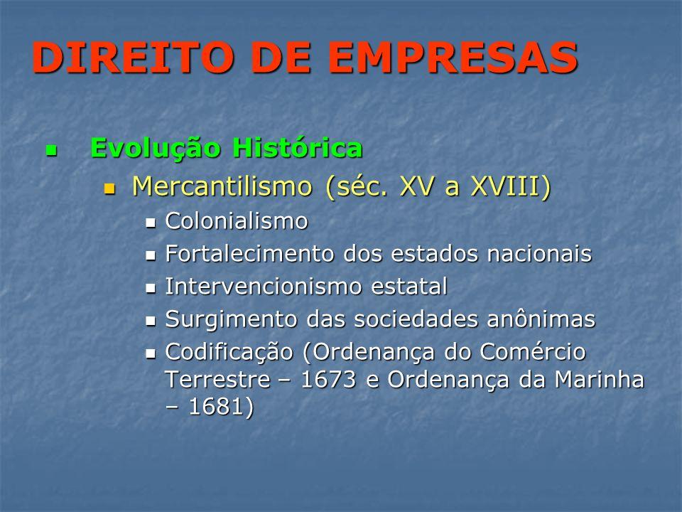 DIREITO DE EMPRESAS Evolução Histórica Mercantilismo (séc. XV a XVIII)