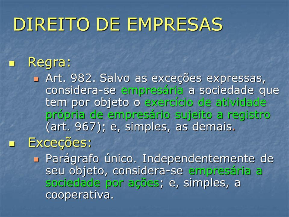 DIREITO DE EMPRESAS Regra: Exceções: