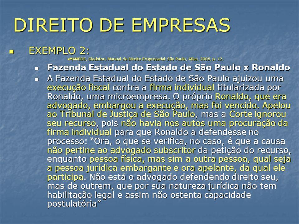 DIREITO DE EMPRESAS EXEMPLO 2: